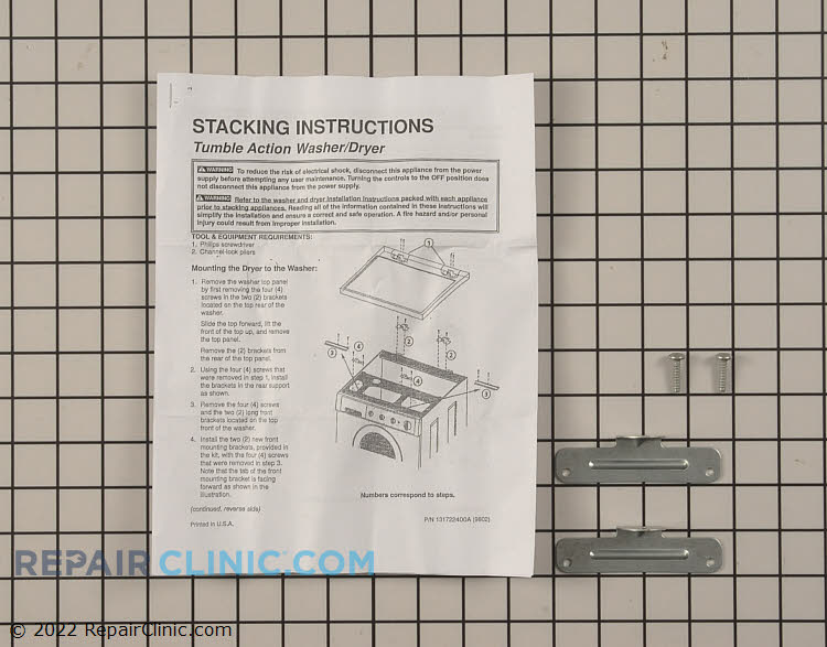 Dryer stacking kit, post 1996 dryer on post 1996 front load washer