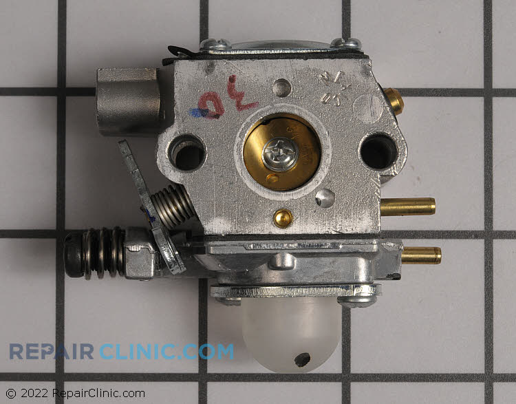 Two cycle engine carburetor. If the engine runs rough, the carburetor may be restricted. The carburetor can often be cleaned or rebuilt, but sometimes it may need to be replaced.