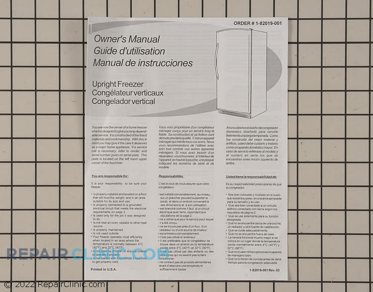 Owner's Manual 1-82019-001     Alternate Product View
