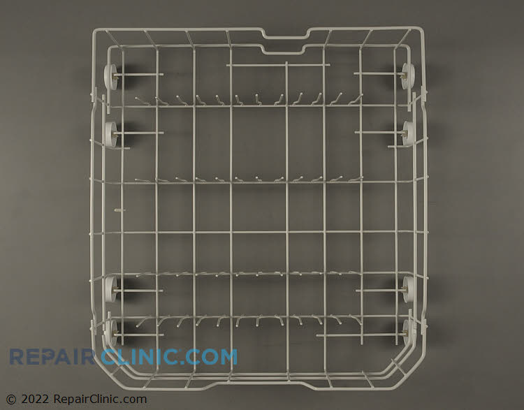 Dishwasher lower rack assembly.