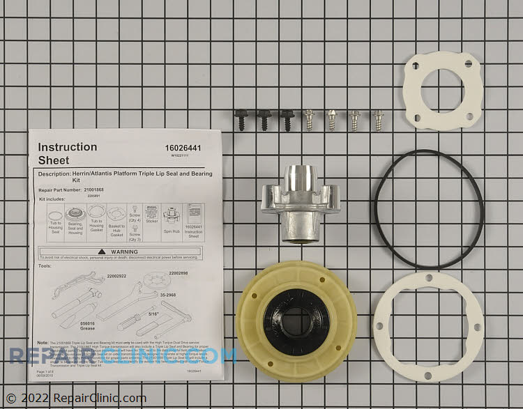 Tub seal and bearing kit *Call to verify correct kit for model/serial