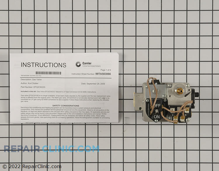 Gas Valve Assembly EF32CW233 Alternate Product View