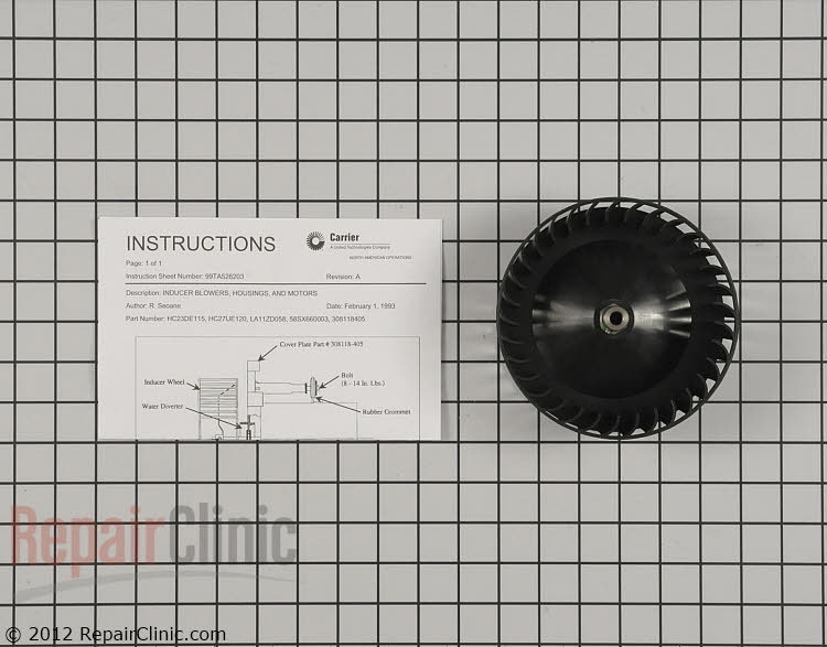 Draft Inducer Blower Wheel LA11ZD058 Alternate Product View
