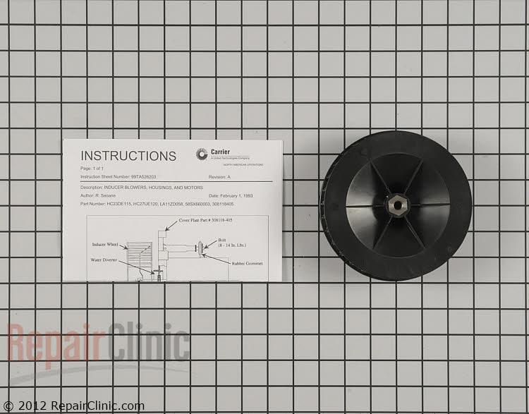 Draft Inducer Blower Wheel LA11ZD058 Alternate Product View