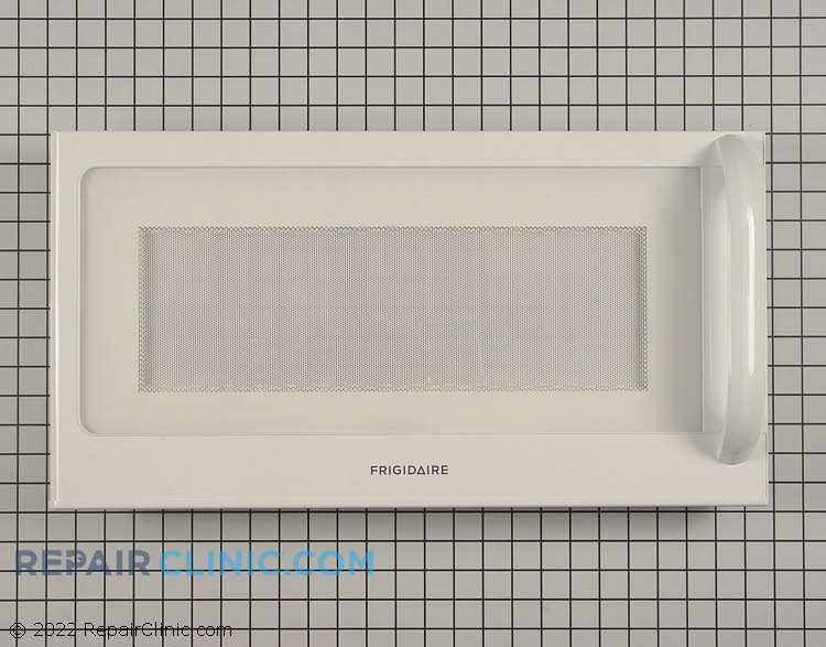 Microwave door assembly in white.