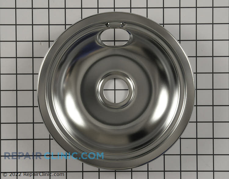 Chrome drip bowl (also called a drip pan) for 8-inch burner. The drip pan sits underneath the heating element to collect drips or spills around the burner.