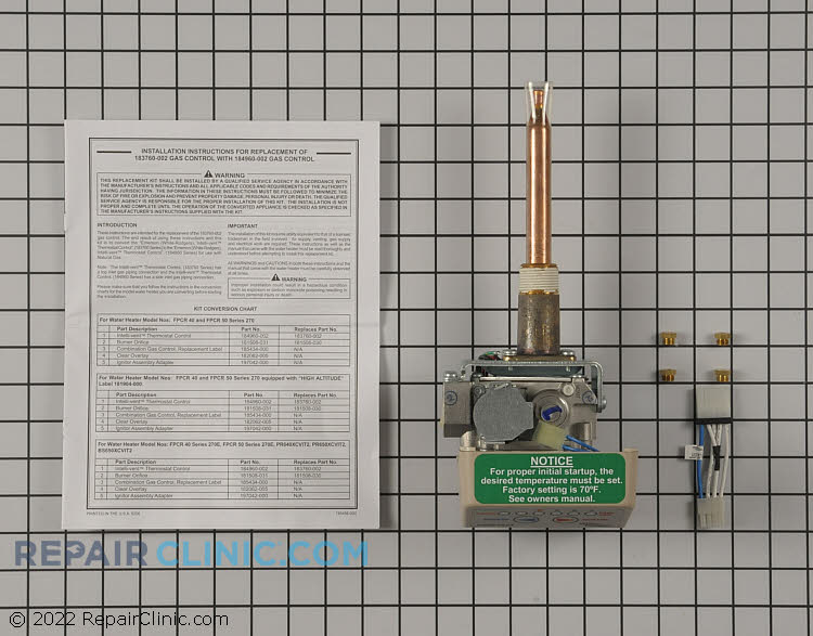 Gas Valve and Thermostat Assembly 9004267005 Alternate Product View