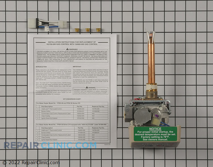 Gas Valve and Thermostat Assembly 100109724 Alternate Product View