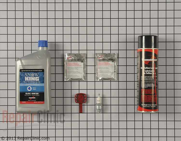 Sno Thro Tune-up Kit- Includes non-stick spray, Snow King oil, fuel stabilizer, spark plug, and start key