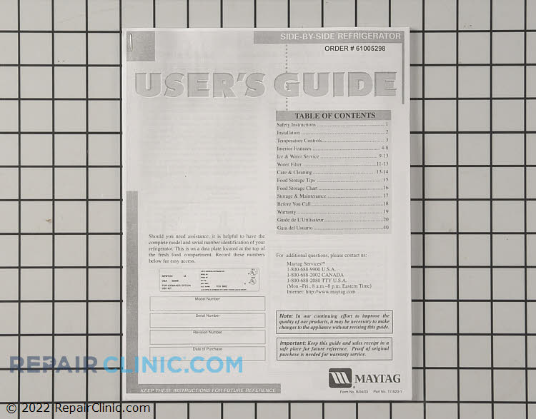 Owner's Manual 61005298        Alternate Product View
