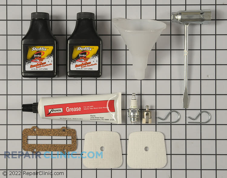 For SV-5C and SV-5CI Engines. Contains 2 bottles of pre-measured 2-cycle oil, 1 spark plug, 2 air filter pads, 2 oz. tube of transmission grease, transmission gasket, 2 tine retaining pins, combo wrench and fuel tank funnel.