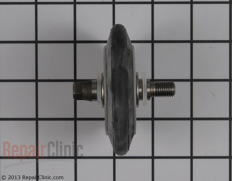 Dryer drum roller assembly. Includes the roller shaft and mounting clips. As the bearing in the roller wears, it self-lubricates so no grease is needed. If the dryer is noisy then one or more of the rollers may be worn. The rollers should be replaced in sets either both front or both rear.