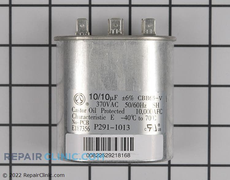 Dual run capacitor, oval, 10/10 uf, 370 volts