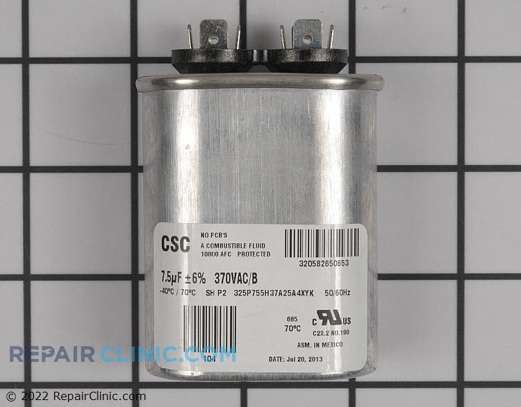 Genteq Run Capacitor 370 Volt Oval Single 7.5 MFD