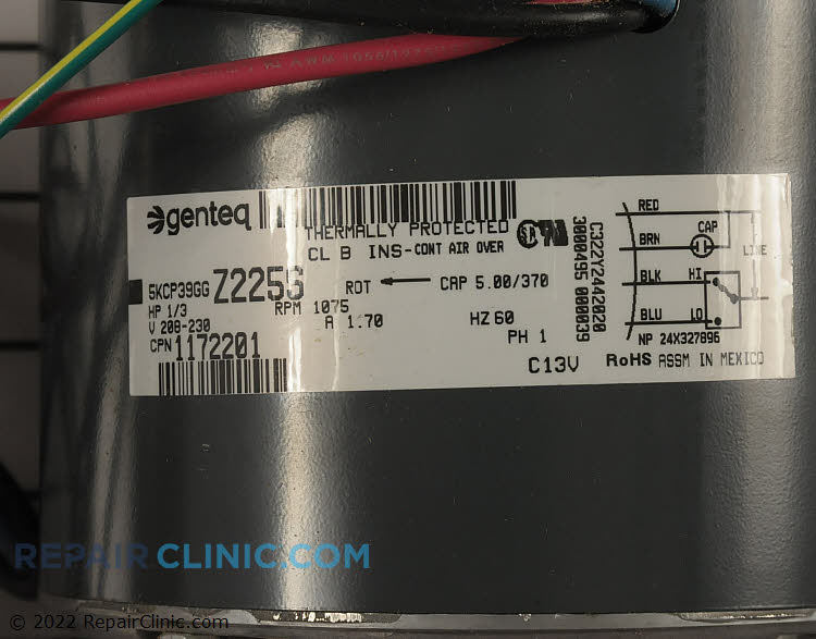 Condenser Fan Motor 1172201 Alternate Product View