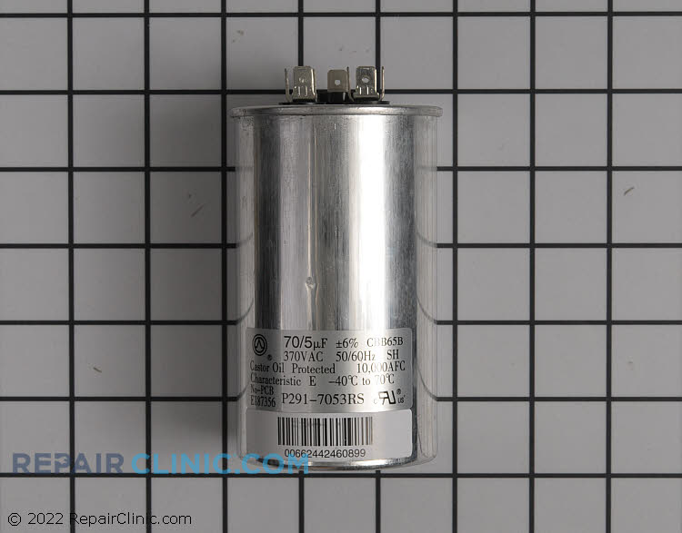 Dual run capacitor, round, 370 Volts, 70/5 Microfarads