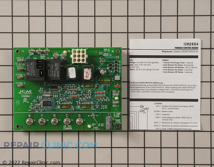 Furnace control module, oem replacement, carrier ce