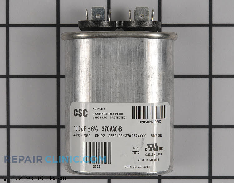 Run capacitor, single,10mfd,370 volts, oval