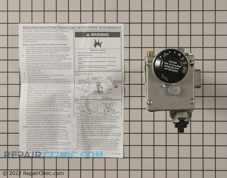 Gas Valve and Thermostat Assembly 9006655005 Alternate Product View