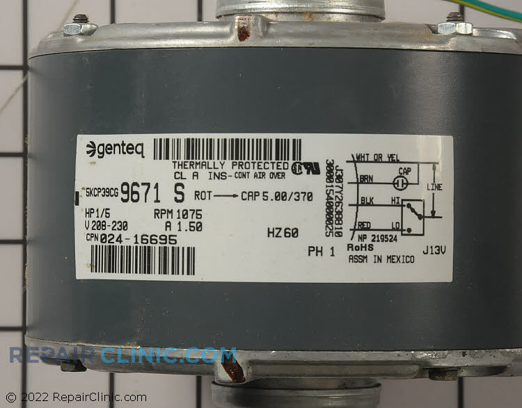 Condenser Fan Motor S1-02416695700 Alternate Product View
