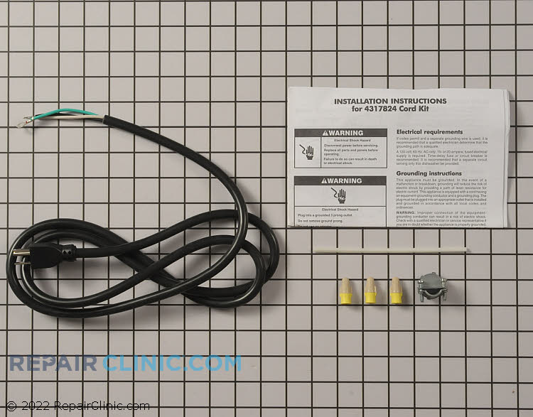 Dishwasher power cord kit- contains power cord, instruction sheet and all of the necessary parts for complete installation of cord. UL Listed 16 gauge 3 wire power supply cord with 3 prong grounded plug. 62 inches long.