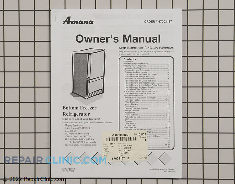 Owner's Manual 67003187 Alternate Product View