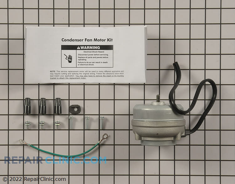 Refrigerator condenser fan motor kit, 2 watts clockwise rotation, hardware and instructions included. The condenser fan motor draws air though the condenser coils and over the compressor. If the condenser fan motor is defective, the refrigerator will not cool.