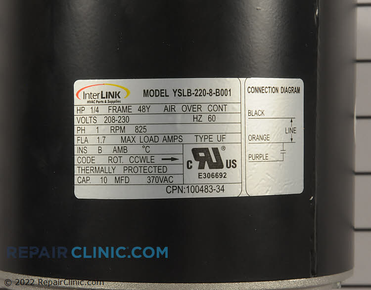 Condenser Fan Motor 12Y65           Alternate Product View