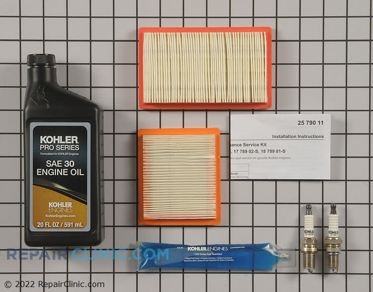 Kohler Maintenance Kit for XT6 & XT-8 Engines. Kit Includes Multiple Parts. Use Appropriate Parts.<br><br>1 Bottle Of 20oz Oil<br>2 Air Filters (14 083-01-S)<br>2 Spark Plugs (14 132 11-S & 14 137 03-S)<br>1 Packet Fuel Stabilizer