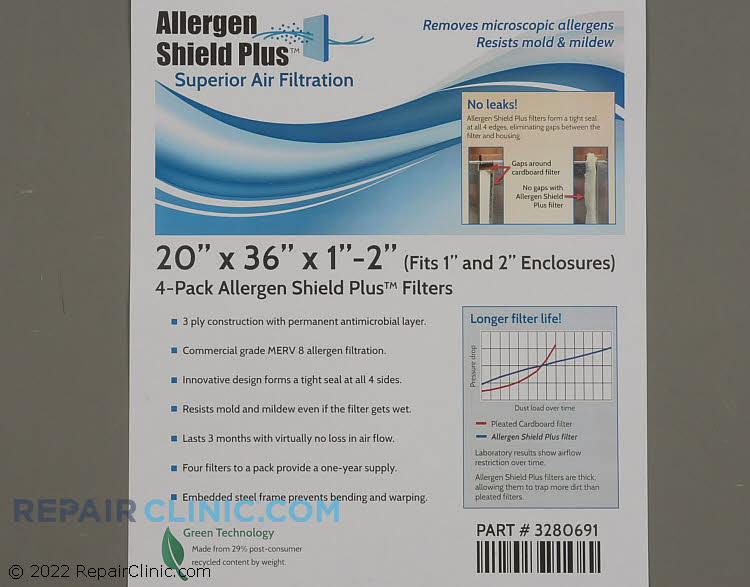 """20 x 36 x 1 (4 Pack) Allergen Shield Plus Filter with Antimicrobial Layer.  Also fits 2"""" openings."""