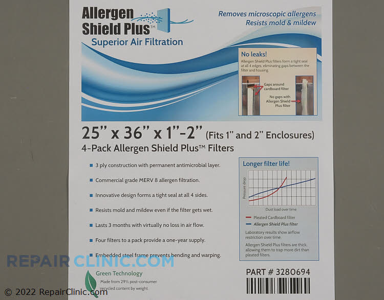 """25 x 36 x 1 (4 Pack) Allergen Shield Plus Filter with Antimicrobial Layer.  Also fits 2"""" openings."""