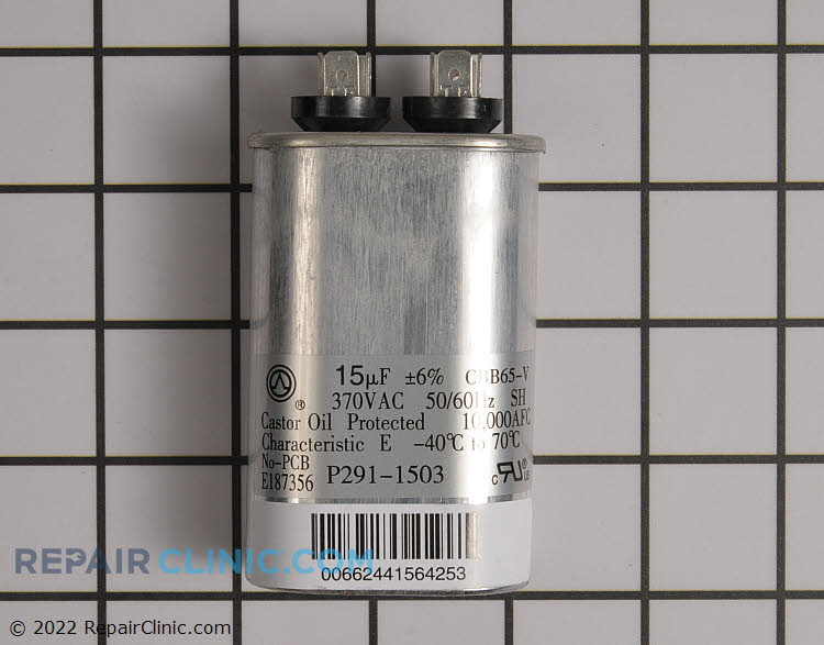 Run capacitor, single, oval, 370 Volts, 15 microfarads