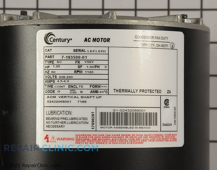 Condenser Fan Motor S1-02432068001 Alternate Product View