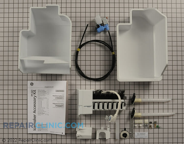 Add-on icemaker kit for many GE built refrigerators. This kit will work for models that have a sticker on the back of the refrigerator with one of the following letters: L M N Q R S T U V or W
