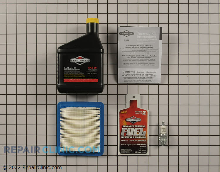 This Briggs & Stratton Genuine Tune-Up Kit Includes<br><br>1 Bottle Of Oil (100005)<br>1 Air Filter (491588S)<br>1 Spark Plug (591868)<br>1 Fuel Treatment (100126)<br><br> A $16.65 Value