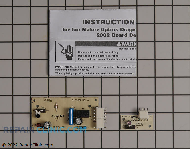 Refrigerator ice level control board. The ice level control board uses an infrared beam to sense the level of ice in the ice bucket and signal the ice maker to make more ice. If the ice level control board fails, the ice maker will stop making ice.