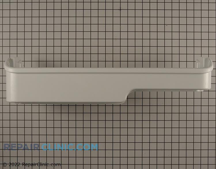 Refrigerator door shelf retainer bar.