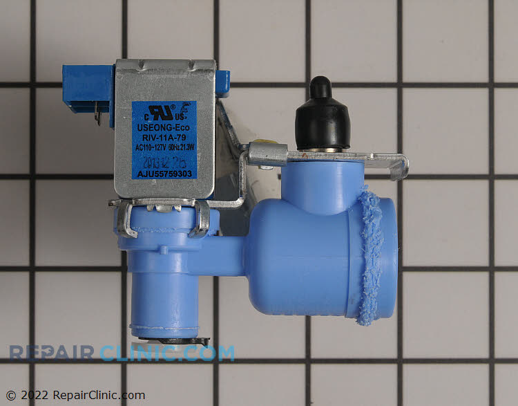 Water inlet valve for ice maker. This valve has a plug-on terminals. For valve with permenently attached wire harness & connector see Recommended Item.