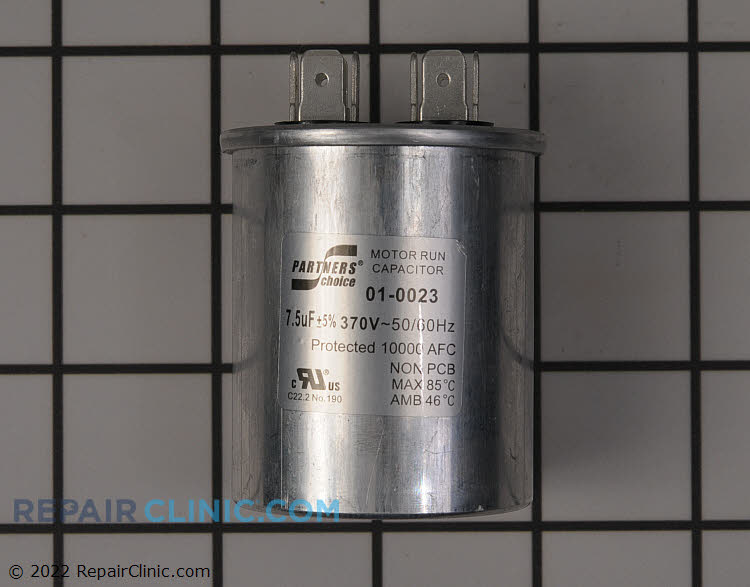 Run capacitor, round, 7.5 MFD, 370 volts
