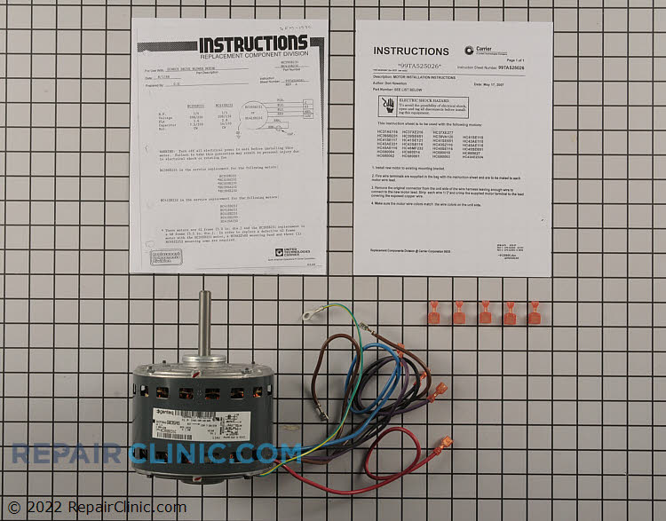 Blower motor, 208/230 volts, 1/4 HP, 1075 RPM