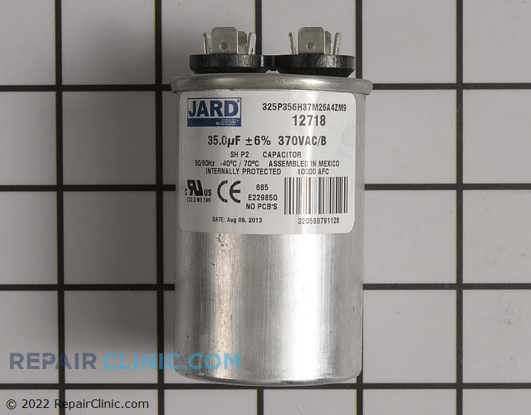Single run capacitor, round, 370 volts, 35 MFD