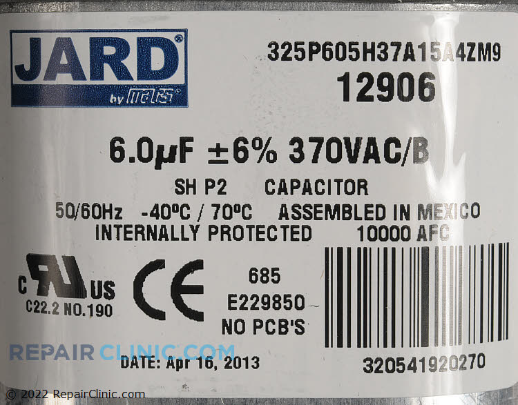 Run Capacitor S1-02425898000 Alternate Product View