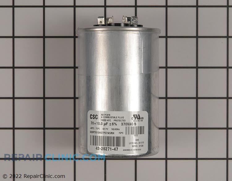 Dual run capacitor, round, 370 volts, 70/10 MFD