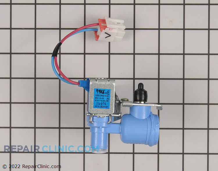 Water inlet valve for ice maker. This valve has a permenently attached wire harness & connector. For valve with plug-on terminals see Recommended Item.