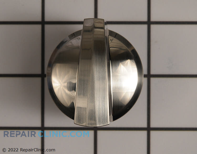 Surface burner control knob, stainless steel