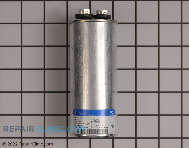 Run capacitor, single round 440 VAC 45 uF