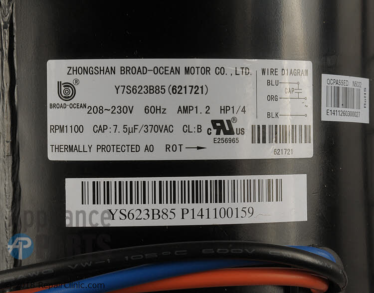 Condenser Fan Motor 621721 Alternate Product View