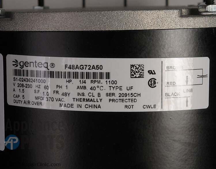 Condenser Fan Motor S1-02436241000  Alternate Product View