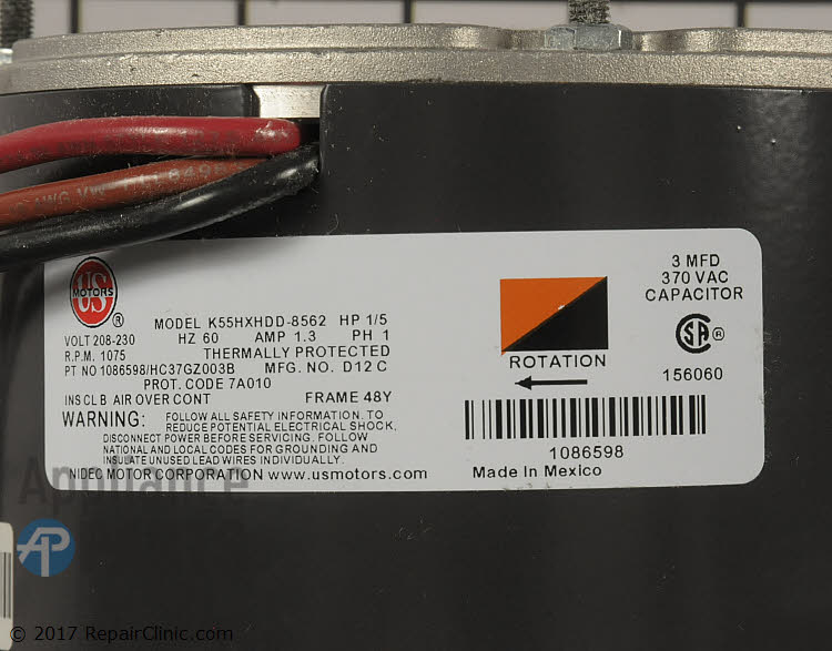 Condenser Fan Motor 1086598 Alternate Product View