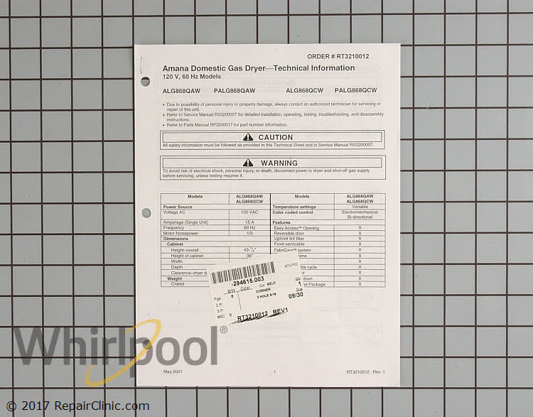 Tech Sheet RT3210012 Alternate Product View